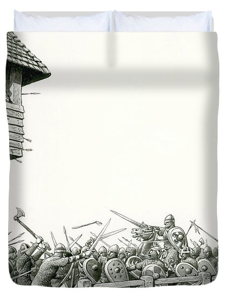 William Of Normandy's Troops Advancing Up The Thames Duvet Cover