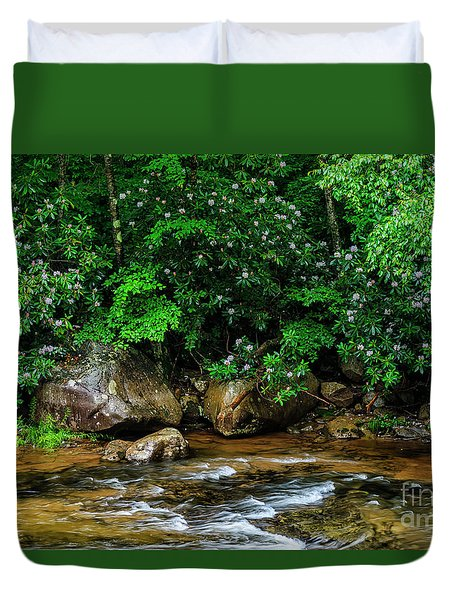 Williams River And Rhododdendron Duvet Cover
