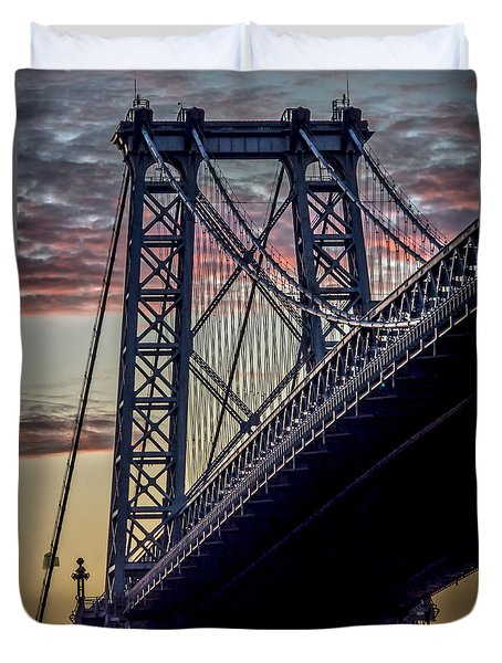 Williamsburg Bridge Structure Duvet Cover by James Aiken