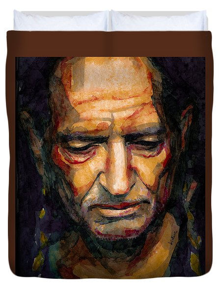 Willie Nelson Portrait 2 Duvet Cover by Laur Iduc