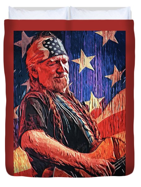 Willie Nelson Duvet Cover by Taylan Apukovska
