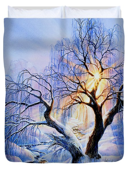 Duvet Cover featuring the painting Willow Creek Sunset by Hanne Lore Koehler