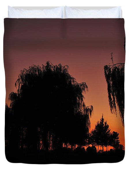 Willow Tree Silhouettes Duvet Cover by Joe  Ng