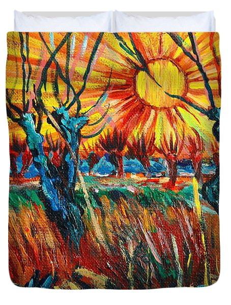 Willows At Sunset - Study Of Vincent Van Gogh Duvet Cover by Karon Melillo DeVega
