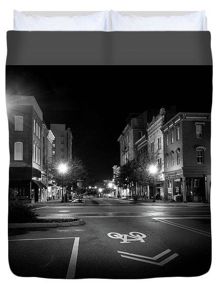 Wilmington Bike Lane In Black And White Duvet Cover