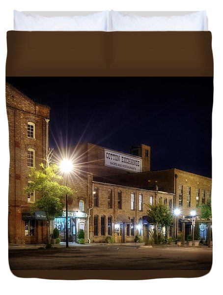Wilmington Cotton Exchange At Night Duvet Cover by Greg Mimbs