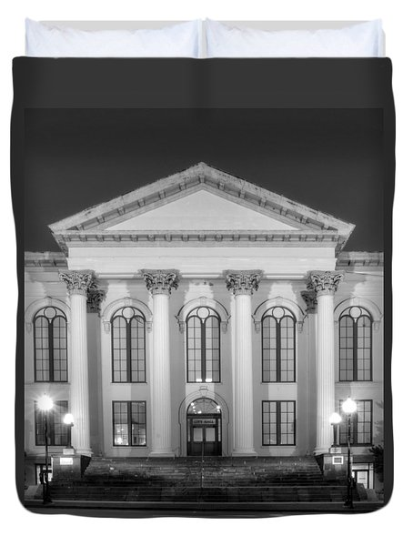 Wilmington North Carolina City Hall In Black And White Duvet Cover