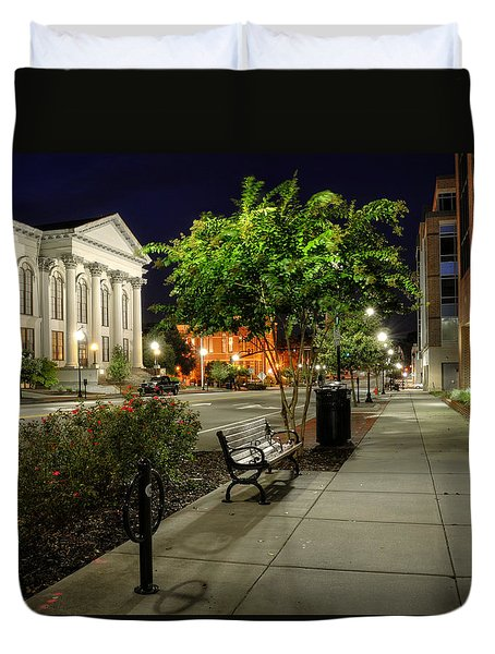 Wilmington Sidewalk At Night Duvet Cover