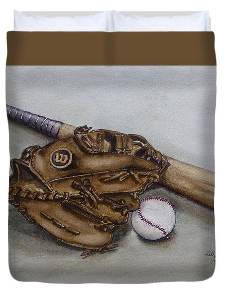 Wilson Baseball Glove And Bat Duvet Cover