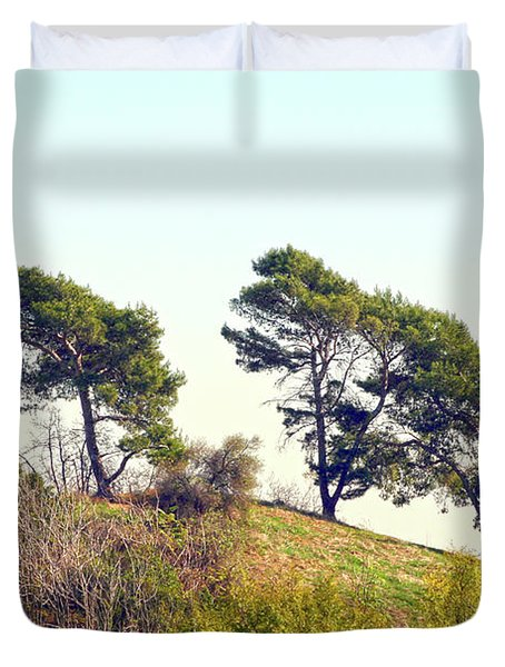 Wind Blown Trees Duvet Cover