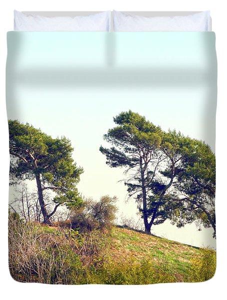 Wind Blown Trees Duvet Cover