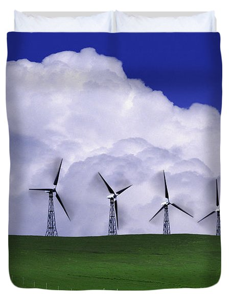 Wind Generators With Clouds In Duvet Cover by Don Hammond