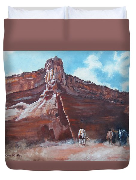 Duvet Cover featuring the painting Wind Horse Canyon by Karen Kennedy Chatham