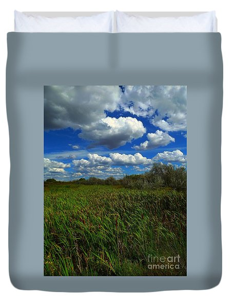 Wind In The Cattails Duvet Cover by Annie Gibbons