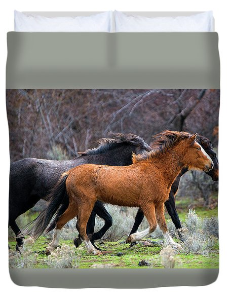 Duvet Cover featuring the photograph Wind In The Manes by Mike Dawson