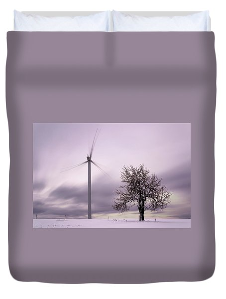 Wind Power Station, Ore Mountains, Czech Republic Duvet Cover