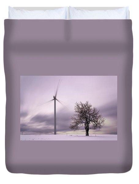 Wind Power Station, Ore Mountains, Czech Republic Duvet Cover