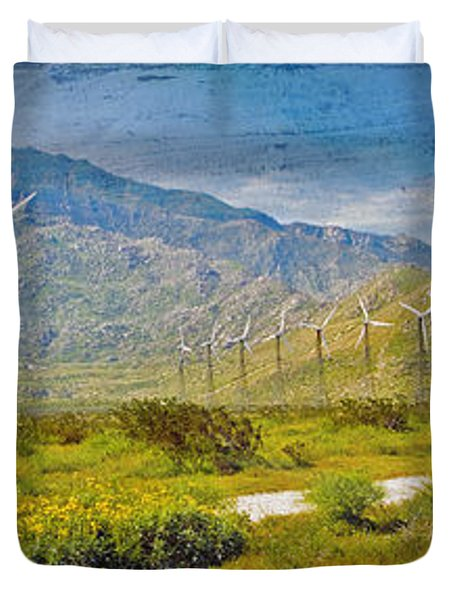 Duvet Cover featuring the photograph Wind Turbine Farm Palm Springs Ca by David Zanzinger