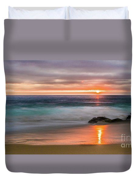 Windansea Beach At Sunset Duvet Cover