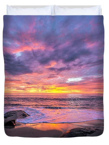 Windansea Beach Sunset Duvet Cover