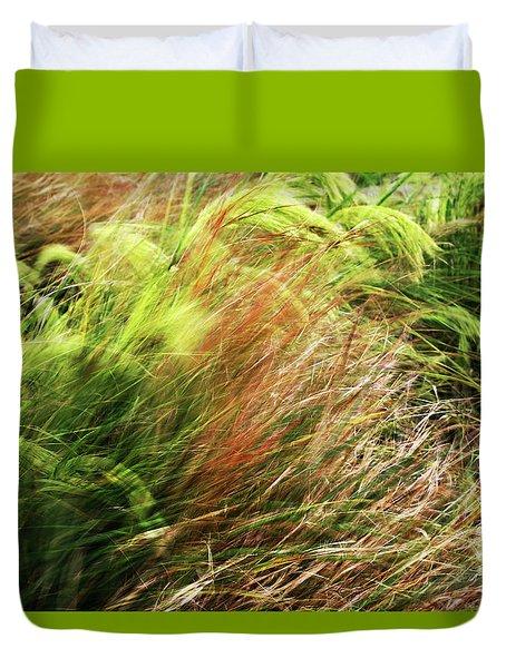 Windblown Grasses Duvet Cover by Nareeta Martin