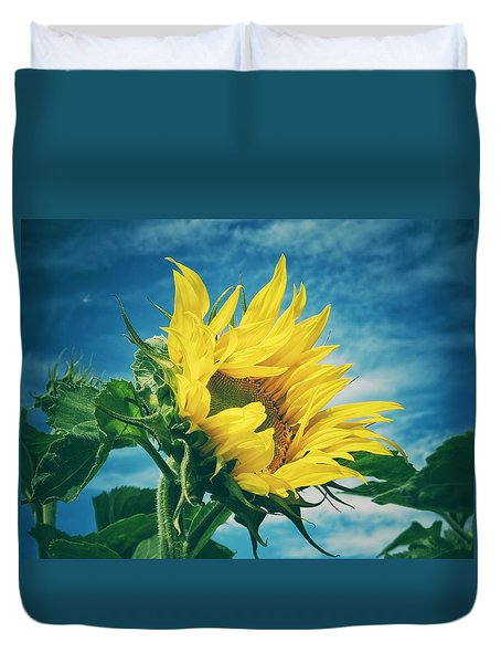 Duvet Cover featuring the photograph Windblown  by Karen Stahlros