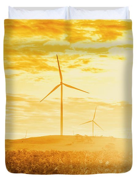 Windfarm Sunset Duvet Cover