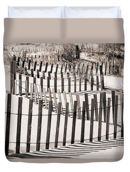 Winding Beach Fences In Sepia Duvet Cover