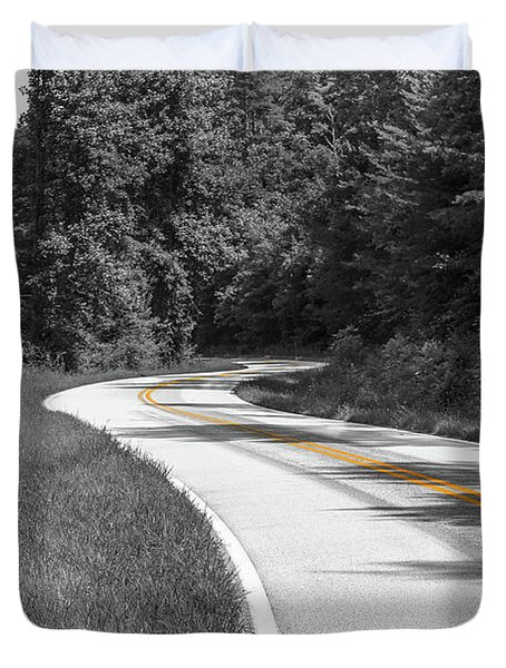 Winding Country Road In Selective Color Duvet Cover