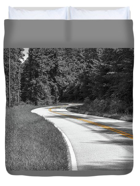 Duvet Cover featuring the photograph Winding Country Road In Selective Color by Doug Camara