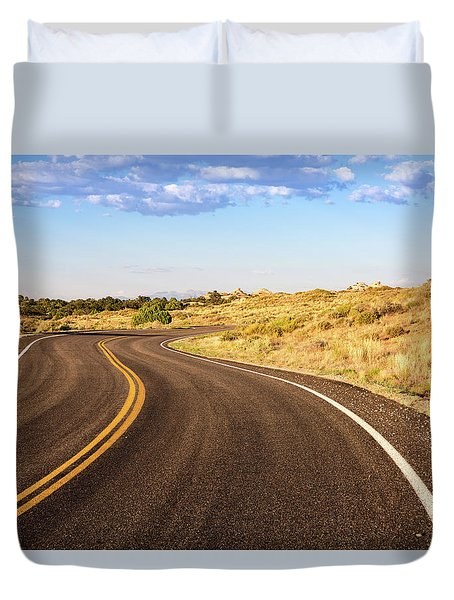 Winding Desert Road At Sunset Duvet Cover
