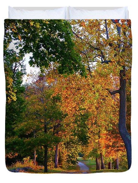 Winding Road In Autumn Duvet Cover