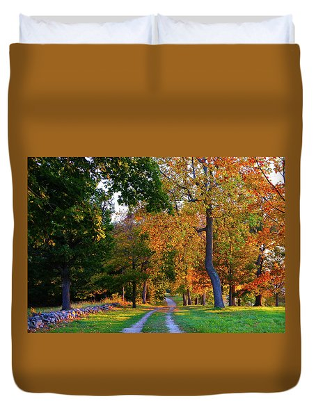 Winding Road In Autumn Duvet Cover