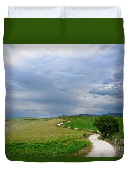 Winding Road To A Destination In A Tuscany Landscape Duvet Cover