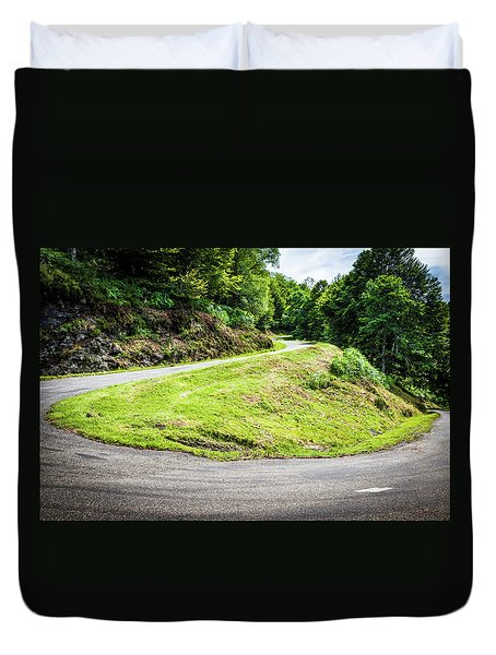 Duvet Cover featuring the photograph Winding Road With Sharp Bend Going Up The Mountain by Semmick Photo