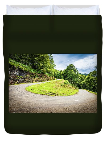 Duvet Cover featuring the photograph Winding Road With Sharp Curve Going Up The Mountain by Semmick Photo