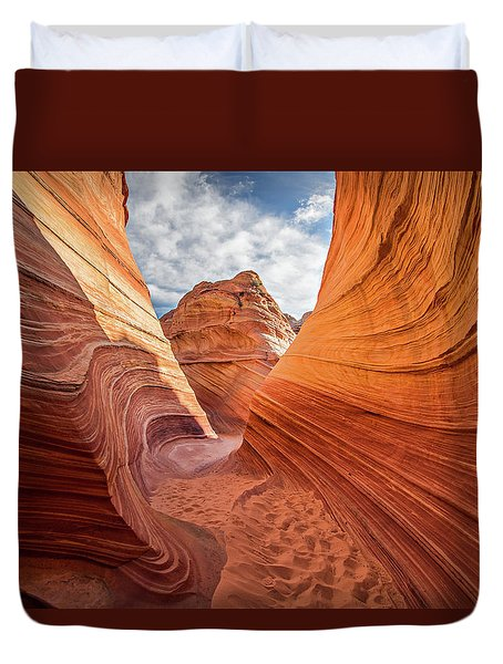Winding Stripes Of Sandstone Duvet Cover
