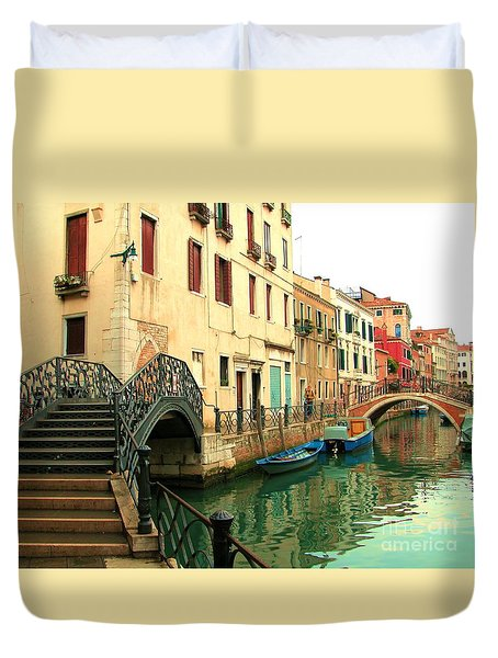 Winding Through The Watery Streets Of Venice Duvet Cover by Barbie Corbett-Newmin