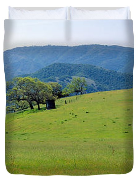 Windmill And Oak Trees In Spring Duvet Cover