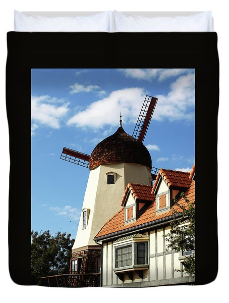 Windmill At Solvang, California Duvet Cover