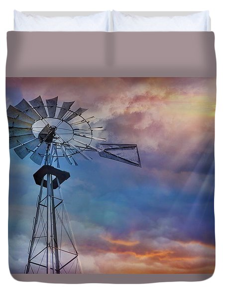 Duvet Cover featuring the photograph Windmill At Sunset by Susan Candelario