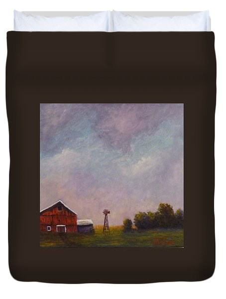 Windmill Farm Under A Stormy Sky. Duvet Cover by Dan Wagner