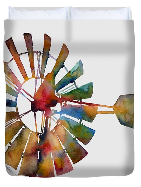 Duvet Cover featuring the painting Windmill by Hailey E Herrera