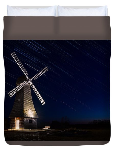 Windmill In The Night Duvet Cover