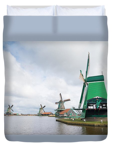 Duvet Cover featuring the photograph Windmill Landscape by Hans Engbers