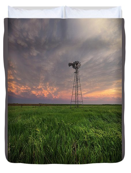 Duvet Cover featuring the photograph Windmill Mammatus by Aaron J Groen