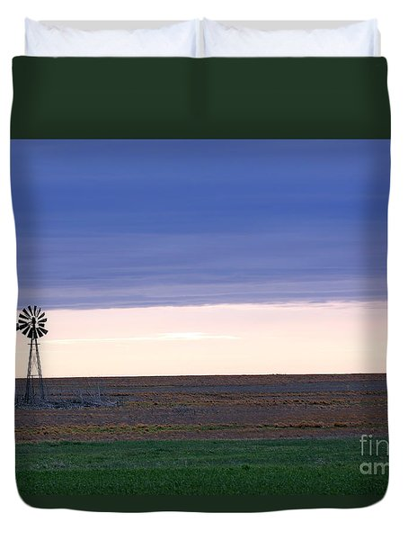 Windmill On The Prairie Duvet Cover