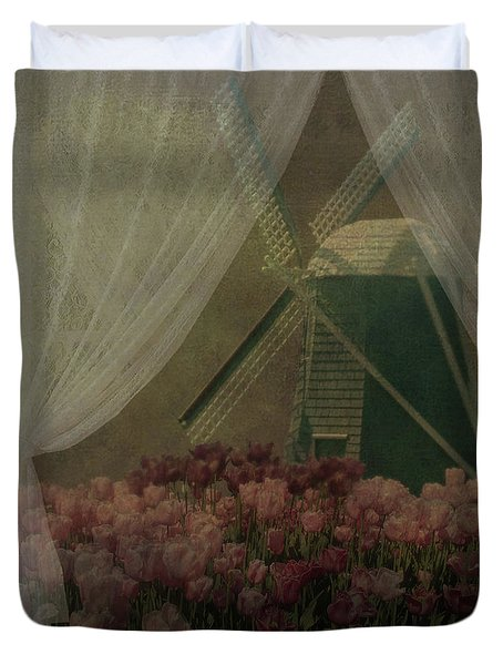 Duvet Cover featuring the photograph Windmill Through Laced Curtain by Jeff Burgess