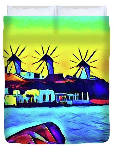Windmills At Mykonos Duvet Cover
