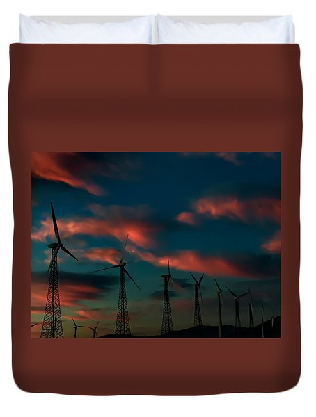 Windmills At Sunrise Duvet Cover by Chris Tarpening